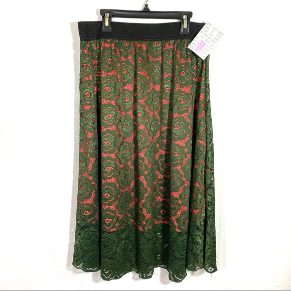 LuLaRoe Lola Skirt Midi Elastic Waist Green Sz M